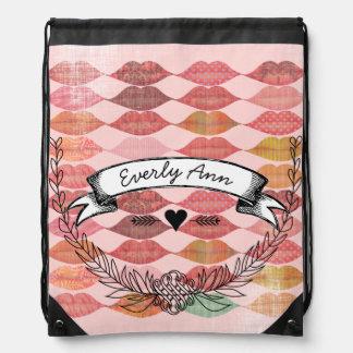 Vintage Personalized Garland Pink Retro Lips Drawstring Bag