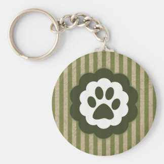 vintage pet paw basic round button keychain