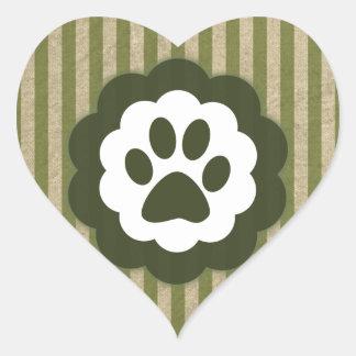 vintage pet paw heart sticker