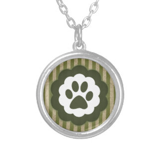 vintage pet paw silver plated necklace