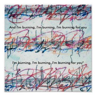 """Vintage Peter Max style """"Burning for you"""" Print"""