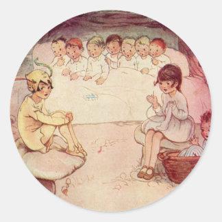 Vintage Peter Pan and Wendy Underground Round Sticker