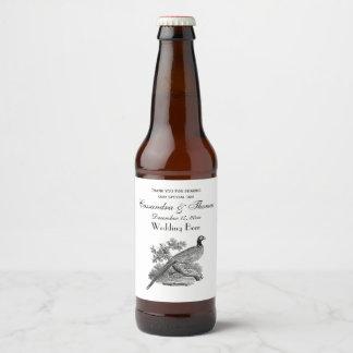 Vintage Pheasant Game Bird Drawing BW Beer Bottle Label