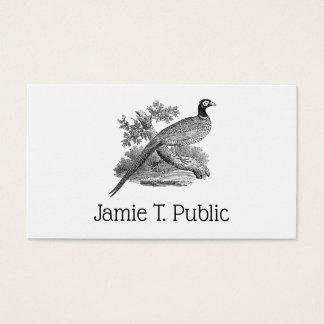 Vintage Pheasant Game Bird Drawing BW Business Card