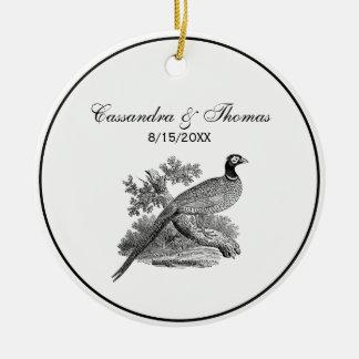 Vintage Pheasant Game Bird Drawing BW Ceramic Ornament