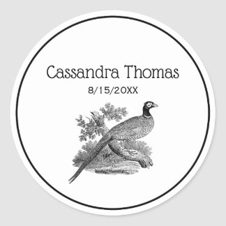 Vintage Pheasant Game Bird Drawing BW Classic Round Sticker