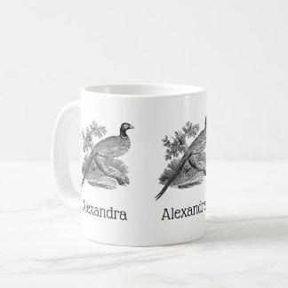 Vintage Pheasant Game Bird Drawing BW Coffee Mug