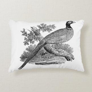Vintage Pheasant Game Bird Drawing BW Decorative Pillow