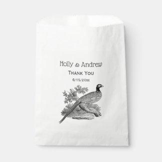 Vintage Pheasant Game Bird Drawing BW Favour Bag