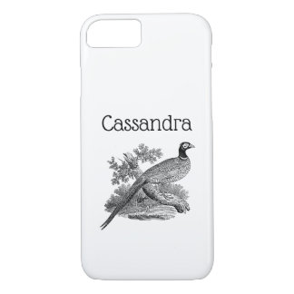 Vintage Pheasant Game Bird Drawing BW iPhone 8/7 Case