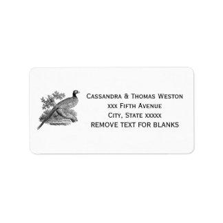 Vintage Pheasant Game Bird Drawing BW Label