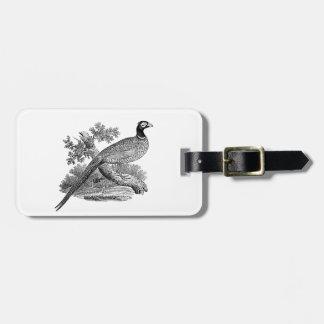 Vintage Pheasant Game Bird Drawing BW Luggage Tag