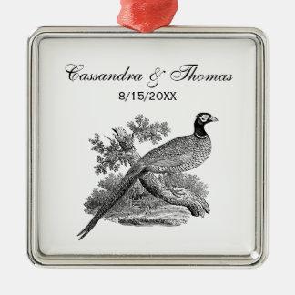 Vintage Pheasant Game Bird Drawing BW Metal Ornament