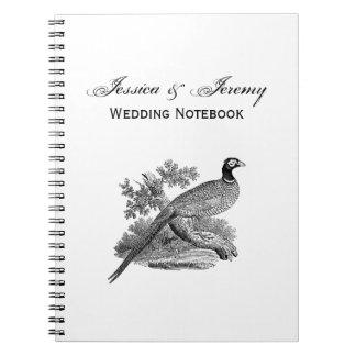 Vintage Pheasant Game Bird Drawing BW Notebooks