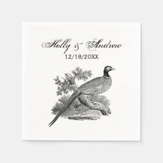 Vintage Pheasant Game Bird Drawing BW Paper Napkin