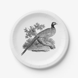 Vintage Pheasant Game Bird Drawing BW Paper Plate