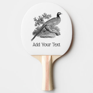 Vintage Pheasant Game Bird Drawing BW Ping Pong Paddle