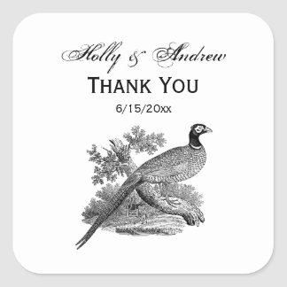 Vintage Pheasant Game Bird Drawing BW Square Sticker