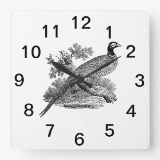 Vintage Pheasant Game Bird Drawing BW Square Wall Clock