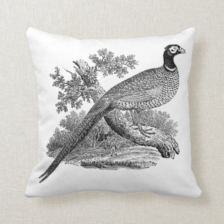 Vintage Pheasant Game Bird Drawing BW Throw Pillow