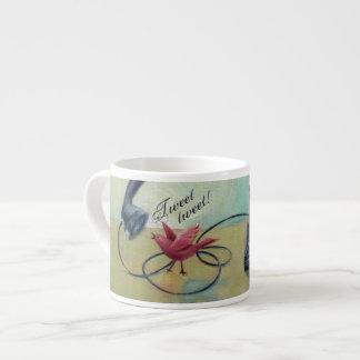 Vintage Phone & Bird Espresso Mug