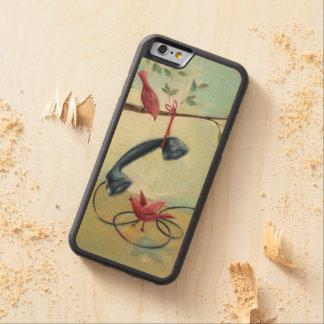 Vintage Phone & Birds Maple Wood Phone Case