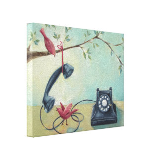 Vintage Phone & Birds Whimsical Canvas Print