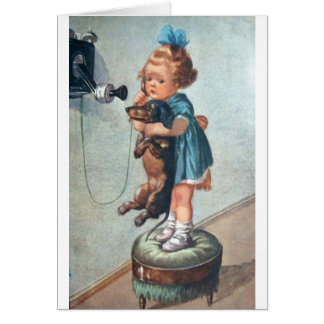 Vintage - Phone Call for a Dachshund, Card