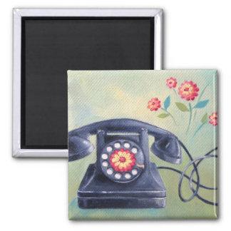 Vintage Phone & Flowers Magnet
