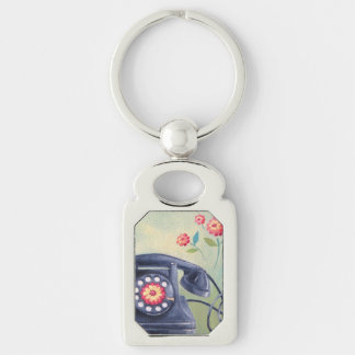 Vintage Phone & Flowers Silver Keychain