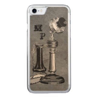 Vintage Phone Illustration on Textured Grey Carved iPhone 8/7 Case
