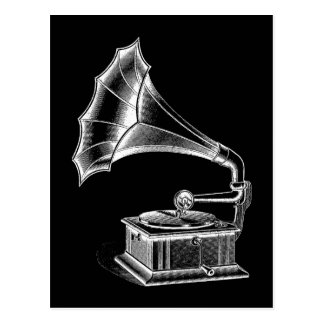 Vintage Phonograph Record Player Musical Black Postcard