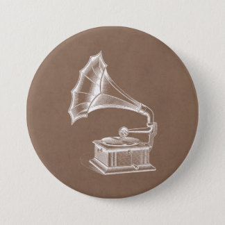 Vintage Phonograph Record Player Musical Parchment 3 Inch Round Button