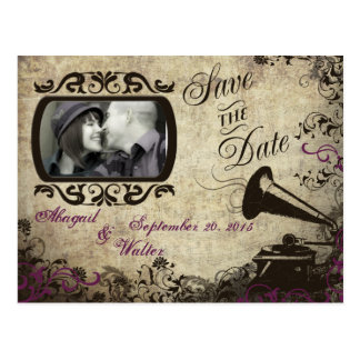 Vintage Phonograph Wedding Save the Date Postcard
