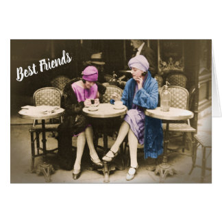 Vintage Photo 2 Women Friends at Cafe Card