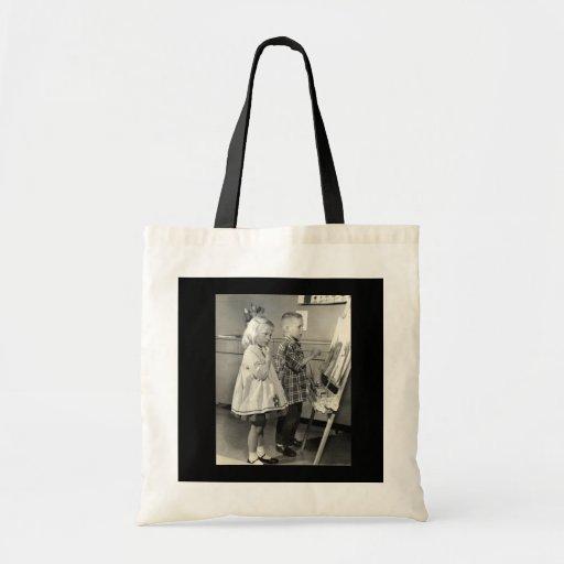 Vintage photo bag for craft supplies