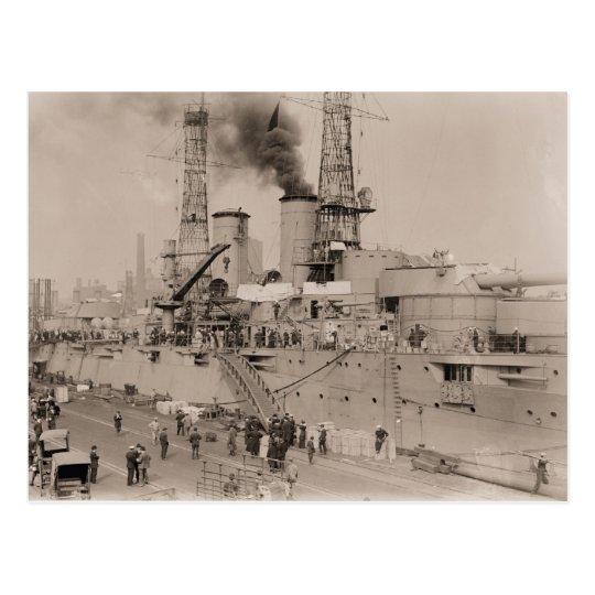 vintage photo Battleship USS NEW YORK loading 1914 Postcard