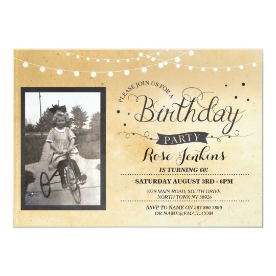 Vintage Photo Birthday Lights Rustic Invitation
