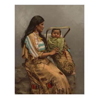Vintage Photo, Chippewa Indian Woman and Child Poster