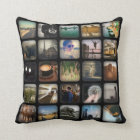 Vintage Photo Collage Retro Round Border Throw Pillow