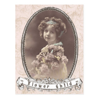 vintage photo flower child postcard