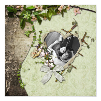 Vintage Photo Heart Cutout Save The Date Card
