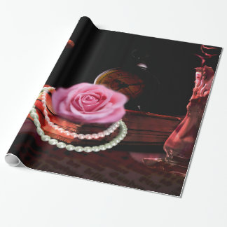 Vintage photo mix of rose, book and sand clock wrapping paper