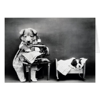 Vintage Photo - Mother Dog Sewing, Card