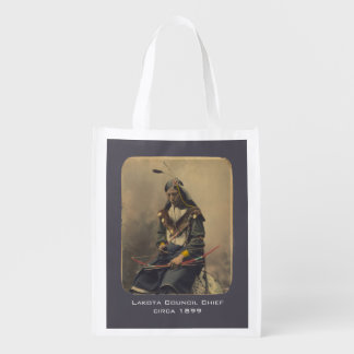 Vintage Photo Native American Lakota Indian Chief Market Tote