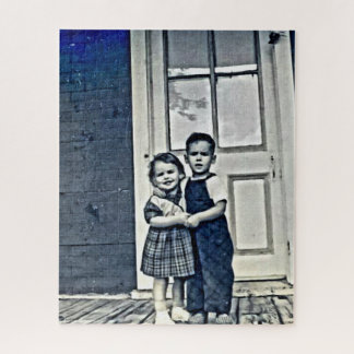 Vintage photo of a brother and sister jigsaw puzzle