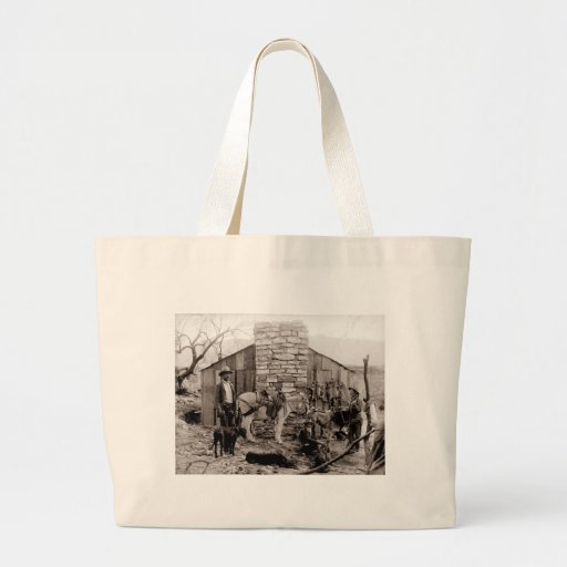 Vintage Photo of a Trappers Cabin Canvas Bags