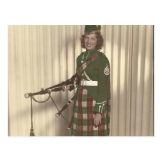 vintage photo of bagpiper girl postcard