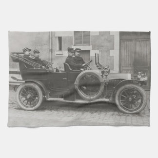 Vintage photo of French soldiers in a Berliet Hand Towels