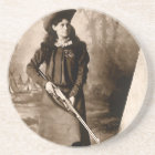 Vintage Photo of Miss Annie Oakley Holding a Rifle Coaster